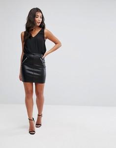 Полиуретановая юбка с молниями Parisian - Черный