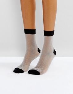 Прозрачные блестящие носки с контрастным верхом ASOS - Серебряный