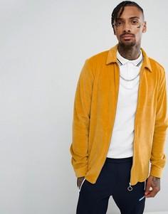 Велюровая рубашка навыпуск горчичного цвета на молнии ASOS - Желтый