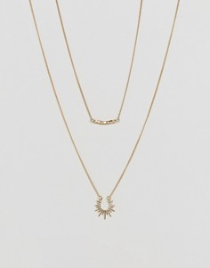 Двухрядное ожерелье-цепочка с подвесками Pieces - Золотой