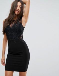 Облегающее платье мини с кружевной отделкой Michelle Keegan Love Lipsy - Черный