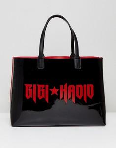 Лакированная сумка-тоут с бумажником Gigi Hadid - Черный Tommy Hilfiger