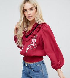 Блузка с вышивкой и оборкой на вороте ASOS PETITE - Фиолетовый