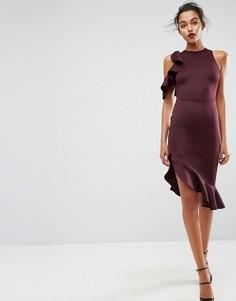 Платье миди с оборкой на подоле ASOS - Розовый