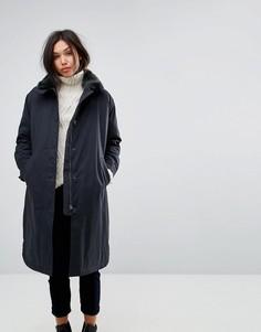 Длинное пальто бойфренда с воротником из искусственного меха Parka London Cleo - Темно-синий