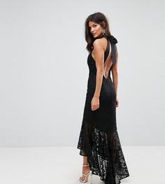 Кружевное платье макси с американской проймой и асимметричным подолом Jarlo - Черный