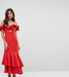 Платье макси с открытыми плечами, оборкой и вырезом Jarlo - Красный