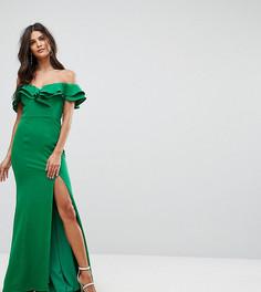 Платье макси с открытыми плечами, оборкой и разрезом Jarlo - Зеленый