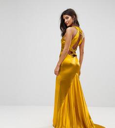 Платье макси с американской проймой, юбкой-годе и открытой спиной Jarlo - Оранжевый