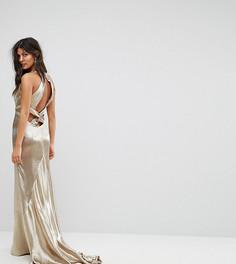 Платье макси с американской проймой, юбкой-годе и открытой спиной Jarlo - Золотой