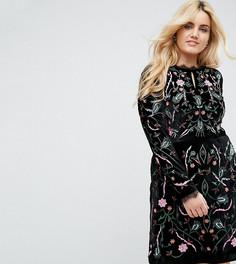Короткое приталенное бархатное платье с вышивкой Frock And Frill Plus - Черный