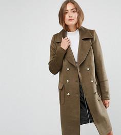 Двубортное пальто в стиле милитари Y.A.S Tall - Зеленый