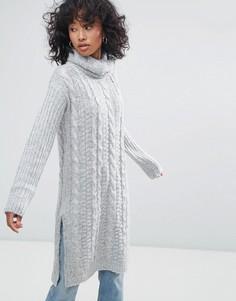 Платье-джемпер крупной вязки с отворачивающимся воротником Oeuvre - Серый