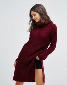 Платье-джемпер крупной вязки с отворачивающимся воротником Oeuvre - Красный