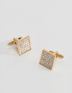Позолоченные запонки с кристаллами ASOS - Золотой