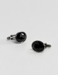 Запонки цвета пушечной бронзы с кристаллами ASOS - Черный