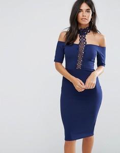 Темно-синее облегающее платье миди кроше с Т-образной отделкой AX Paris - Темно-синий