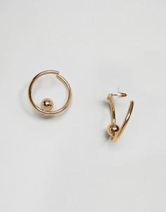 Витые серьги-кольца с шариками ASOS - Золотой