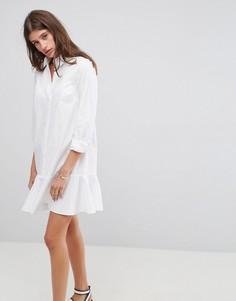 Платье-рубашка мини с баской ASOS - Белый