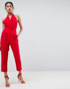 Комбинезон-халтер с лацканами и широкими брюками ASOS Tailored - Красный