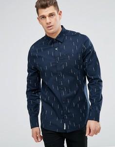 Темно-синяя приталенная рубашка Original Penguin - Темно-синий