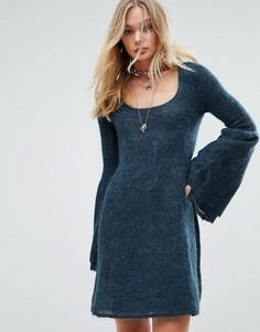 Платье мини с добавлением шерсти альпака Free People Juliet - Синий