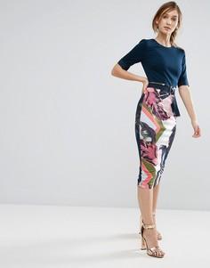 Платье-футляр с контрастным принтом Ted Baker - Розовый