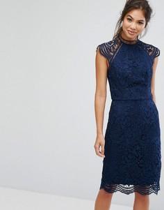Кружевное платье-футляр с фигурными краями Chi Chi London - Темно-синий
