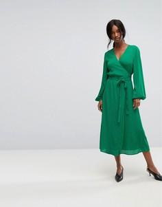 Платье с запахом и поясом Gestuz - Зеленый