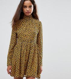 Короткое приталенное платье с воротником-стойкой и леопардовым принтом Fashion Union Petite - Желтый