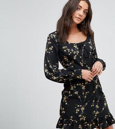 Платье с оборками и шнуровкой Fashion Union Tall - Черный