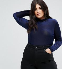 Бархатное боди с воротником-стойкой Fashion Union Plus - Темно-синий