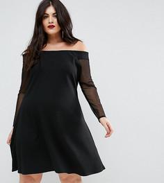 Платье мини с открытыми плечами и чокером Pink Clove - Черный