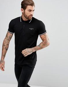 Черная обтягивающая футболка-поло Illusive London - Черный