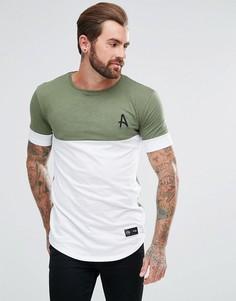 Облегающая футболка цвета хаки с белой вставкой Aces Couture - Зеленый