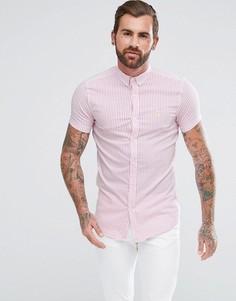 Узкая рубашка в розовую полоску Aces Couture - Розовый