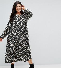 Свободное платье в горошек с цветочным принтом Alice & You - Черный