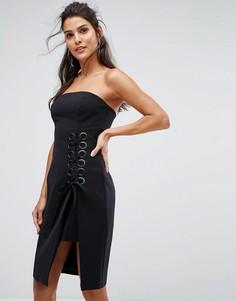 Платье-бандо с решетчатой отделкой Finders Keepers Unbelievers - Черный