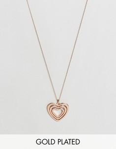 Ожерелье с вращающимся сердечком из кристалла Ted Baker Helinna - Золотой
