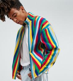 Куртка на молнии из флиса в полоску Reclaimed Vintage Inspired - Синий