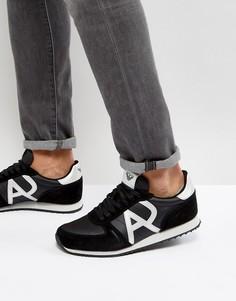 Беговые кроссовки с логотипом Armani Jeans - Черный