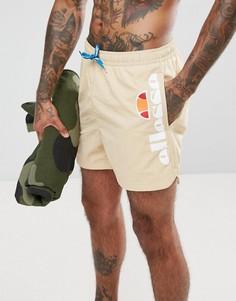 Бежевые шорты для плавания с логотипом сбоку Ellesse - Коричневый