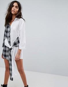 Платье-рубашка мини с запахом и принтом PrettyLittleThing - Мульти