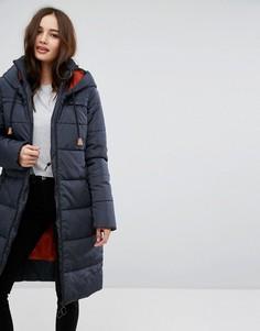 Длинная дутая куртка с контрастным капюшоном Vila - Темно-синий