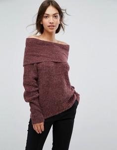 Джемпер в рубчик с открытыми плечами Vila - Фиолетовый