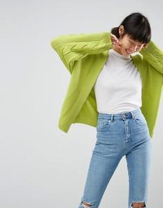 Оверсайз-кардиган крупной вязки ASOS - Зеленый