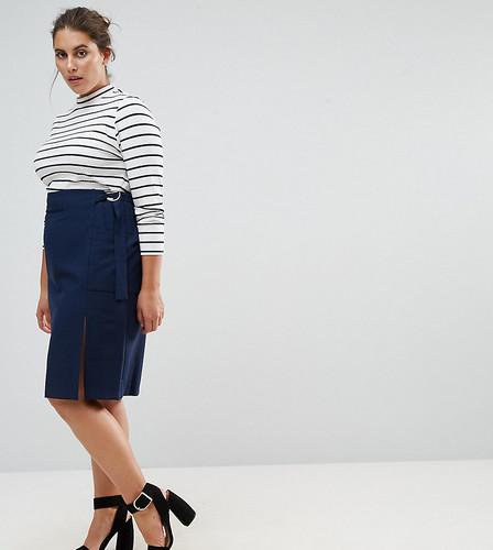 Однотонная юбка-карандаш из крепа эксклюзивно для ASOS CURVE - Темно-синий