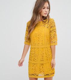 Кружевное платье-трапеция Little Mistress Petite - Желтый