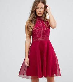 Короткое приталенное платье для выпускного с высоким воротом Little Mistress Petite - Красный