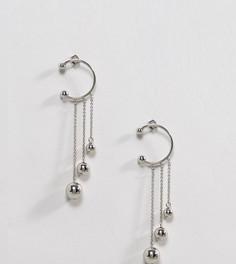 Серьги с незамкнутыми кольцами и цепочками Monki - Серебряный